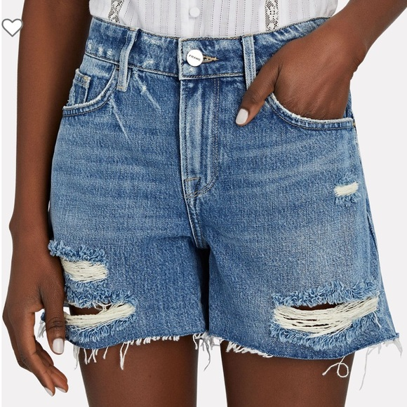 Frame High Rise Garçon Denim Jean Bermuda Shorts